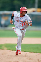 Greeneville Reds right fielder Reniel Ozuna (27) running the bases during the first game of a doubleheader against the Princeton Rays on July 25, 2018 at Hunnicutt Field in Princeton, West Virginia.  Princeton defeated Greeneville 6-4.  (Mike Janes/Four Seam Images)