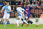 Sidnei Rechel da Silva Junior of RC Deportivo La Coruna (C) fights for the ball with Lionel Messi of FC Barcelona (R) during the La Liga 2017-18 match between FC Barcelona and Deportivo La Coruna at Camp Nou Stadium on 17 December 2017 in Barcelona, Spain. Photo by Vicens Gimenez / Power Sport Images
