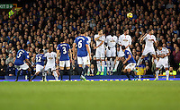 Liverpool, UK. Saturday 01 November 2014<br /> Pictured: A free kick by Samuel Eto'o of Everton (L) goes over the Swansea wall.<br /> Re: Premier League Everton v Swansea City FC at Goodison Park, Liverpool, Merseyside, UK.
