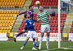 St Johnstone v Celtic…04.10.20   McDiarmid Park  SPFL<br />Shane Duffy clears David Wotherspoon's header<br />Picture by Graeme Hart.<br />Copyright Perthshire Picture Agency<br />Tel: 01738 623350  Mobile: 07990 594431
