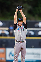 Rocket City Trash Pandas starting pitcher Reid Detmers (10) delivers a pitch to the plate against the Tennessee Smokies at Smokies Stadium on July 2, 2021, in Kodak, Tennessee. (Danny Parker/Four Seam Images)