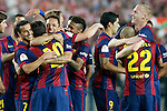 FC Barcelona's Pedro Rodriguez, Leo Messi, Adriano Correia, Neymar Santos Jr, Luis Suarez, Daniel Alves and Jeremy Mathieu celebrate the victory in the Spanish King's Cup Final match. May 30,2015. (ALTERPHOTOS/Acero)