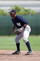 New York  Yankees second baseman Angelo Gumbs #71 during a minor league spring training game against the Philadelphia Phillies at the Carpenter Complex on March 22, 2012 in Clearwater, Florida.  (Mike Janes/Four Seam Images)