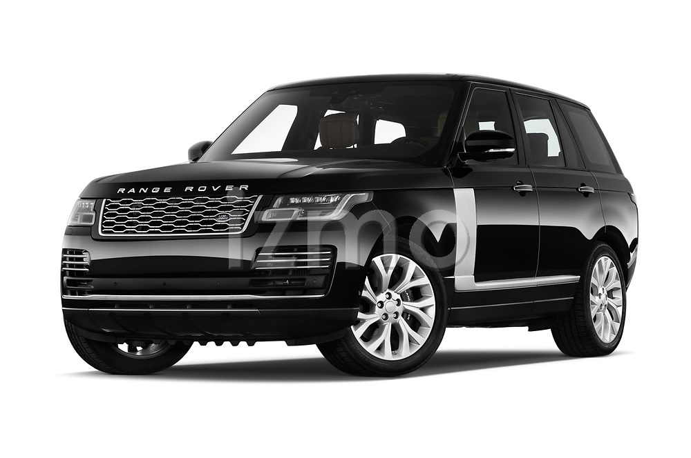 Stock pictures of low aggressive front three quarter view of a 2018 Land Rover Range Rover Autobiography Select Doors Door SUV