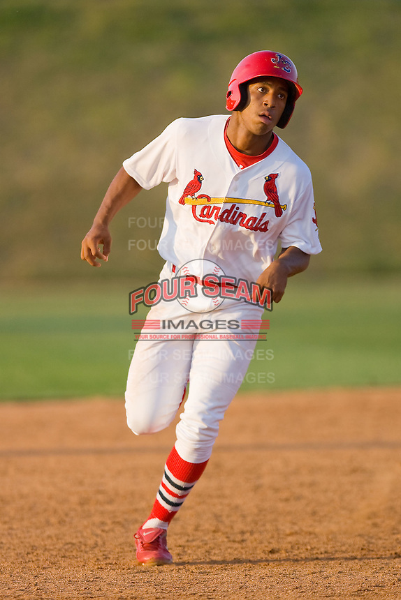 Oscar Taveras #7 of the Johnson City Cardinals rounds the bases after hitting a home run against the Elizabethton Twins at Howard Johnson Field July 3, 2010, in Johnson City, Tennessee.  Photo by Brian Westerholt / Four Seam Images