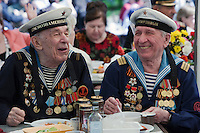 Moscow, Russia, 09/05/2011..Two former sailors as Russian World War Two veterans and well-wishers gather in Gorky Park during the country's annual Victory Day celebrations.
