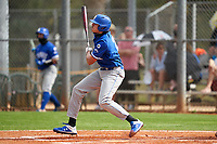 Indiana State Sycamores Aaron Beck (21) bats during the teams opening game of the season against the Pitt Panthers on February 19, 2021 at North Charlotte Regional Park in Port Charlotte, Florida.  (Mike Janes/Four Seam Images)