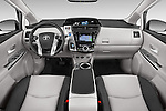 Stock photo of straight dashboard view of a 2015 Toyota Prius V Four 5 Door MPV