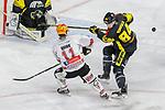 Bremerhavens CORYQUIRK (Nr.11) im Zweikampf mit Krefelds Kristofers Bindulis (Nr.84)  beim Spiel in der Gruppe Nord der DEL, Krefeld Pinguine (schwarz) – Fischtown Pinguins Bremerhaven (weiss).<br /> <br /> Foto © PIX-Sportfotos.de *** Foto ist honorarpflichtig! *** Auf Anfrage in hoeherer Qualitaet/Aufloesung. Belegexemplar erbeten. Veroeffentlichung ausschliesslich fuer journalistisch-publizistische Zwecke. For editorial use only.