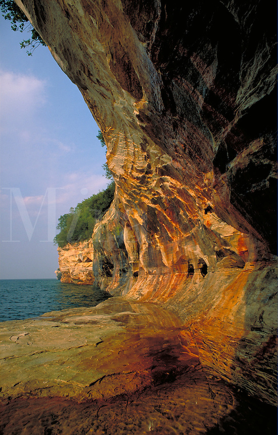Rock formation on the Shore of Lake Superior. Pictured Rocks Natl Lakeshore Michigan USA downtown.