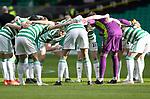 Celtic v St Johnstone…12.05.21  SPFL Celtic Park<br />Scott Brown pictured during the huddle before his last game at Celtic Park<br />Picture by Graeme Hart.<br />Copyright Perthshire Picture Agency<br />Tel: 01738 623350  Mobile: 07990 594431