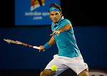 January 31, 2010. Roger Federer of Switzerland, in action, defeating Andy Murray of Great Britain 6-3, 6-4,7-6, in the Mens  Singles Championship of The Australian Open, Melbourne Park, Melbourne, Australia