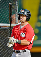 19 July 2012: Tri-City ValleyCats outfielder Andrew Aplin awaits his turn in the batting cage prior to a game against the Vermont Lake Monsters at Centennial Field in Burlington, Vermont. The ValleyCats defeated the Lake Monsters 6-3 in NY Penn League action. Mandatory Credit: Ed Wolfstein Photo