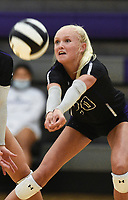 Fayetteville Brooke Rockwell (20) digs, Thursday, September 10, 2020 during a volleyball game at Fayetteville High School in Fayetteville. Check out nwaonline.com/200911Daily/ for today's photo gallery. <br /> (NWA Democrat-Gazette/Charlie Kaijo)