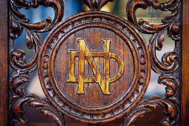 April 15, 2018; Monogram on a chair back (Photo by Matt Cashore/University of Notre Dame)