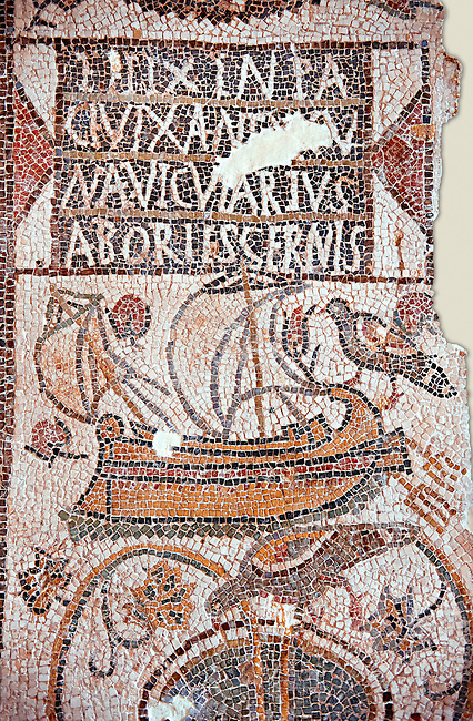Christian funerary Mosaic of a ship owner called Felix. The mosaic depicts his two masted above a kantharos, a Greek styled drinking cup, with vines and foliage. At the top is a Constantinian monogram in a laurel wreath which symbolises the deceased devotion to Christianity.  This early Christian mosaic is from Tabarka, 5th century AD. Roman mosaics from the north African Roman province of Africanus . Bardo Museum, Tunis, Tunisia.