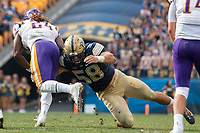 Pitt linebacker Quintin Wirginis makes a tackle. The Pitt Panthers football team defeated the Albany Great Danes 33-7 on September 01, 2018 at Heinz Field, Pittsburgh, Pennsylvania.