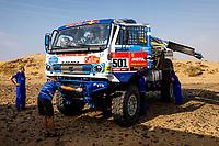 31st December 2020, Jeddah, Saudi Arabian. The vehicle and river shakedown for the 2021 Dakar Rally in Jeddah; 501 Shibalov Anton rus, Nikitin Dmitrii rus, Tatarinov Ivan rus, Kamaz, Kamaz - Master, Camion, Truck