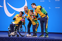 26th August 2021; Tokyo, Japan; Bronze medalists of Brazil team celebrates on the podium for the Swimming : Mixed 4x50m Freestyle Relay - 20 Points Final - Medal Ceremony on August 26, 2021 during the Tokyo 2020 Paralympic Games at the Tokyo Aquatics Centre in Tokyo, Japan.