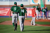 Daytona Tortugas pitcher Tejay Antone (11) and pitcher Wennington Romero (14) before a game against the St. Lucie Mets on August 3, 2018 at First Data Field in Port St. Lucie, Florida.  Daytona defeated St. Lucie 3-2.  (Mike Janes/Four Seam Images)