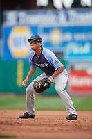 Trenton Thunder first baseman Gosuke Katoh (19) during a game against the Hartford Yard Goats on August 26, 2018 at Dunkin' Donuts Park in Hartford, Connecticut.  Trenton defeated Hartford 8-3.  (Mike Janes/Four Seam Images)