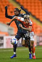 Blackpool's Jordan Lawrence-Gabriel battles with Leeds United's Crysencio Summerville<br /> <br /> Photographer Dave Howarth/CameraSport<br /> <br /> EFL Trophy - Northern Section - Group G - Blackpool v Leeds United U21 - Wednesday 11th November 2020 - Bloomfield Road - Blackpool<br />  <br /> World Copyright © 2020 CameraSport. All rights reserved. 43 Linden Ave. Countesthorpe. Leicester. England. LE8 5PG - Tel: +44 (0) 116 277 4147 - admin@camerasport.com - www.camerasport.com