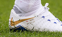 The limited edition personalised football boots of Harry Kane of Spurs to celebrate his 100 league goals ahead of the Premier League match between Tottenham Hotspur and Arsenal at Wembley Stadium, London, England on 10 February 2018. Photo by Andy Rowland / PRiME Media Images.