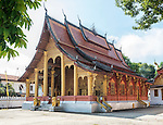 The main building at Wat Sensoukharam, a Buddhist temple and monastery on the main street in Luang Prabang, Laos.