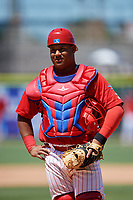 Clearwater Threshers catcher Wilson Garcia (10) during a game against the Fort Myers Miracle on April 25, 2018 at Spectrum Field in Clearwater, Florida.  Clearwater defeated Fort Myers 9-5. (Mike Janes/Four Seam Images)