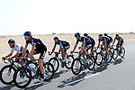Team Sky Procycling led by World Champion Mark Cavendish (GBR) warm up before the 2nd Stage of the 2012 Tour of Qatar a team time trial at Lusail Circuit, Doha, Qatar, 6th February 2012 (Photo Eoin Clarke/Newsfile)