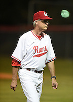 Lake Mary Rams coach Ed Nuss (16) walks off the field after a meeting at the mound during a game against the Lake Brantley Patriots on April 2, 2015 at Allen Tuttle Field in Lake Mary, Florida.  Lake Brantley defeated Lake Mary 10-5.  (Mike Janes/Four Seam Images)