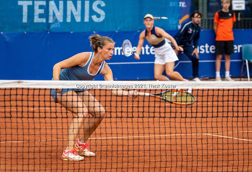 Amstelveen, Netherlands, 10 Juli, 2021, National Tennis Center, NTC, Amstelveen Womans Open, Doubles final: Suzan Lamens (NED) and Quirine Lemoine (NED) (L)<br /> Photo: Henk Koster/tennisimages.com