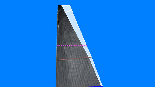 The extra area gained is only from the top quarter of the main sail, in the attached photo ( FH2) you can see the pink line