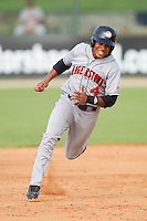 Adrian Sanchez #4 of the Hagerstown Suns hustles towards third base against the Kannapolis Intimidators at Fieldcrest Cannon Stadium August 8, 2010, in Kannapolis, North Carolina.  Photo by Brian Westerholt / Four Seam Images