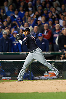 Cleveland Indians third baseman Jose Ramirez (11) throws to first base in the fourth inning during Game 5 of the Major League Baseball World Series against the Chicago Cubs on October 30, 2016 at Wrigley Field in Chicago, Illinois.  (Mike Janes/Four Seam Images)