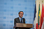 Sebastiano Cardi, Permanent Representative of Italy to the United Nations and President of the Security Council for the month of November, addresses the press