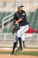 Starting pitcher Rafael De Los Santos (43) of the Hickory Crawdads in action versus the Kannapolis Intimidators at Fieldcrest Cannon Stadium in Kannapolis, NC, Sunday April 13, 2008.