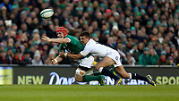Saturday 2nd February 2019 | Ireland vs England<br /> <br /> Josh van der Flier loses the ball as he is tackled by Henry Slade during the opening Guinness 6 Nations clash between Ireland and England at the Aviva Stadium, Lansdowne Road, Dublin, Ireland.  Photo by John Dickson / DICKSONDIGITAL