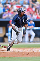 Charleston RiverDogs center fielder Estevan Florial (8) swings at a pitch during a game against the Asheville Tourists at McCormick Field on July 4, 2017 in Asheville, North Carolina. The Tourists defeated the RiverDogs 2-1. (Tony Farlow/Four Seam Images)