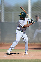 Oakland Athletics second baseman Jesus Lopez (4) during an Instructional League game against the Milwaukee Brewers on October 10, 2013 at Maryvale Baseball Park Training Complex in Phoenix, Arizona.  (Mike Janes/Four Seam Images)