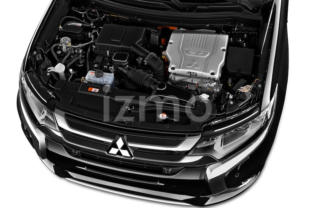Car Stock 2016 Mitsubishi Outlander Phev PHEV 5 Door Suv Engine  high angle detail view