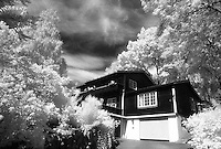 My grandparents' house in infrared - Oslo, Norway.<br /> <br /> Nikon F3HP, 24mm lens, Kodak High Speed Infrared film, red filter