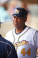 Montgomery Biscuits hitting coach Ozzie Timmons (44) during a game against the Jackson Generals on April 29, 2015 at Riverwalk Stadium in Montgomery, Alabama.  Jackson defeated Montgomery 4-3.  (Mike Janes/Four Seam Images)