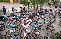 peloton including Maglia Rosa Filippo Ganna (ITA/INEOS Grenadiers) up the 15% climb in Guarene, 15 kilometers from the finish <br /> <br /> 104th Giro d'Italia 2021 (2.UWT)<br /> Stage 3 from Biella to Canale (190km)<br /> <br /> ©kramon