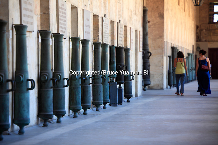 Cannons display as trophy in the hallway of museum of the Army. Hotel les Invalides. Paris. city of Paris. France