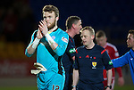 St Johnstone v Aberdeen…22.04.16  McDiarmid Park, Perth<br />Zander Clark celebrates at full time<br />Picture by Graeme Hart.<br />Copyright Perthshire Picture Agency<br />Tel: 01738 623350  Mobile: 07990 594431