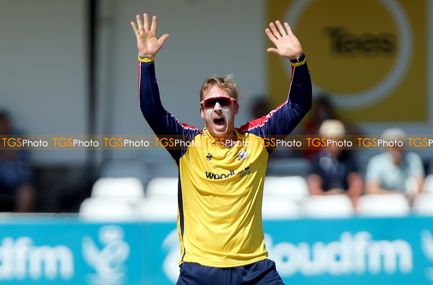 Simon Harmer of Essex appeals for a wicket during Essex Eagles vs Middlesex, Vitality Blast T20 Cricket at The Cloudfm County Ground on 18th July 2021