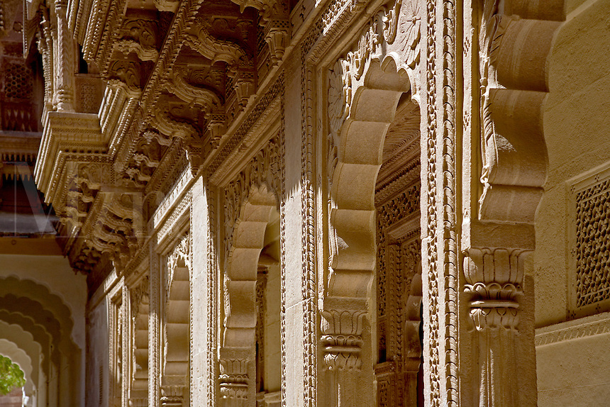 Hand carved STONE PILLARS and ARCHWAYS in the MEHERANGARH FORT built by Maharaja Man Singh in 1806 - JOHDPUR, RAJASTHAN, INDIA