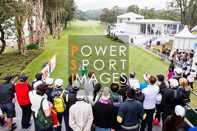 Fans watch as Wen-Tang Lin of Taiwan tees off during the day three of UBS Hong Kong Open 2017 at the Hong Kong Golf Club on 25 November 2017, in Hong Kong, Hong Kong. Photo by Marcio Rodrigo Machado / Power Sport Images