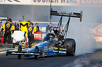 Feb 7, 2020; Pomona, CA, USA; NHRA top fuel driver Clay Millican during qualifying for the Winternationals at Auto Club Raceway at Pomona. Mandatory Credit: Mark J. Rebilas-USA TODAY Sports